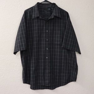 Van Heusen Men's Button Up Dress Shirt Black Plaid